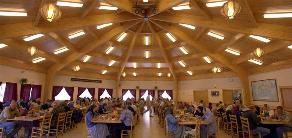 An image of a communal mealtime in the Foxhill dining room
