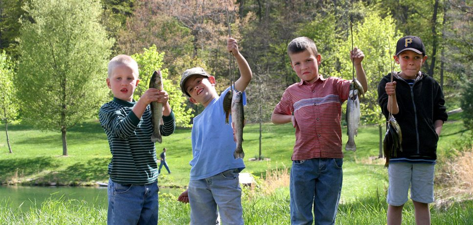 An image of four school aged boys holding up the fish they caught