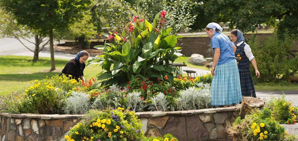 An image of three young women gardening in a circular flower bed at the Woodcrest Bruderhof