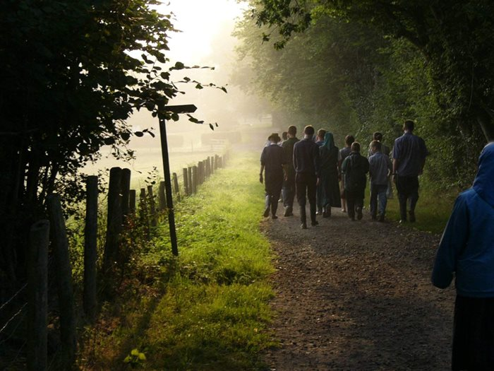 A group of people walk down a country road