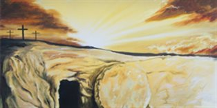 artwork showing the empty tomb and an angel standing outside the entrance