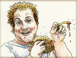 a drawing of an enthusiastic man eating a burger and fries