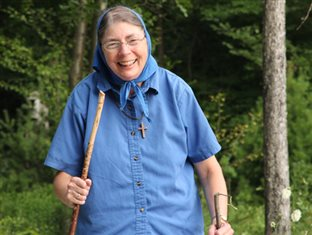 Margie on a walk through the woods