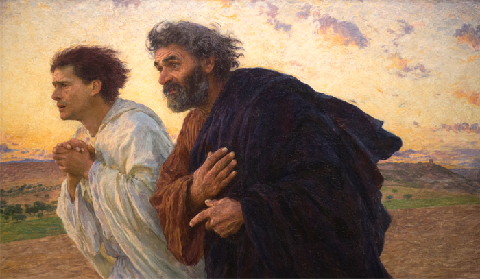 Artwork showing Peter and John running to the tomb on Easter morning