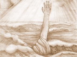 sketch of drowning person