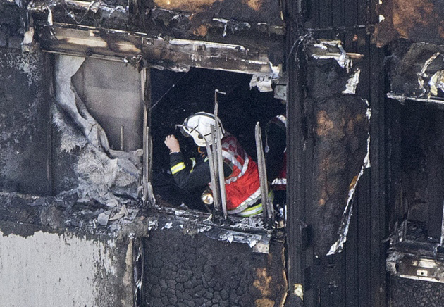 A fireman working in the Grenfell Tower