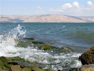 waves breaking on the shore of the Sea of Galilee