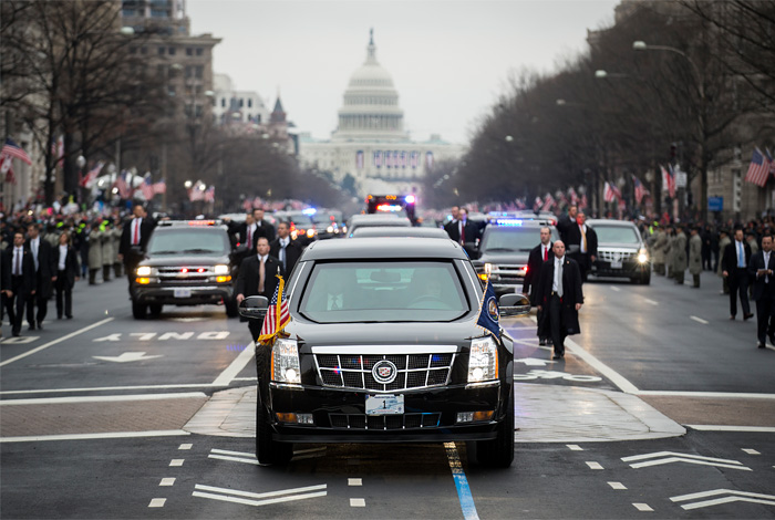 Trump's presidential motorcade on Inauguration day