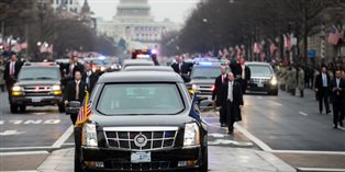 Trump's large motorcade on Inauguration day