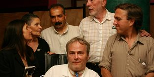 Steven McDonald and Johann Christoph Arnold with Palestinian and Israeli peace activists in Jerusalem.