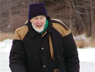 Milton Zimmerman outside in winter