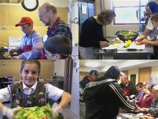 children helping prepare food in the Soup Kitchen