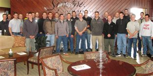 The group of young men from the Bruderhof who participated in the training