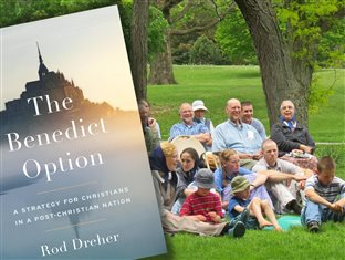 the cover of The Benedict Option book and a picture of Bruderhof members meeting outdoors together
